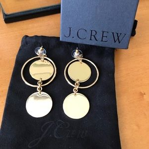 J Crew Double Disc Drop earrings